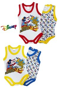 Coppia body neonati spalla larga 100% cotone fantasia DISNEY MICKEY WF-8002