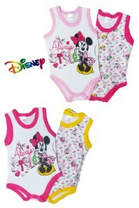 Coppia body neonate spalla larga 100% cotone fantasia DISNEY MINNIE WF-8002
