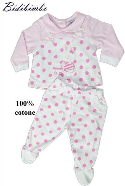 Pigiama Neonata Completo Clinica Manica Lunga Cotone art 860