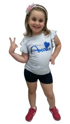 COMPLETO BAMBINA T-SHIRT + SHORTS MADE IN ITALY CAMILLA 4026
