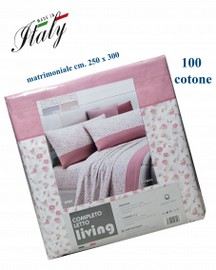 Completo lenzuola matrimoniale 100% cotone stampato made in Italy LIVING mod. caterina var. 3