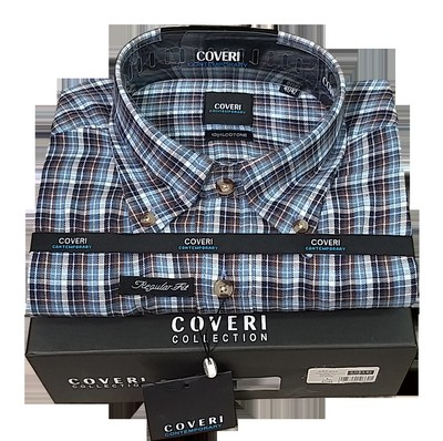 Camicia uomo invernale in flanella rasata regular fit bottom down COVERI collection C74 var-3