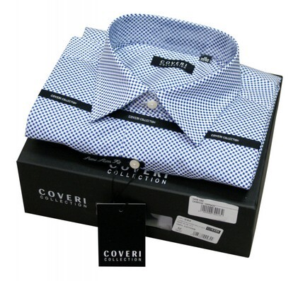Camicia uomo manica lunga  collo francese 100% cotone COVERI COLLECTION C82/1 tg. M-39/40