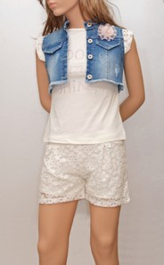 COMPLETO BAMBINA CORTO 3 PEZZI SHORTS+T-SHIRT+GILET 8/16 ANNI MADE IN ITALY