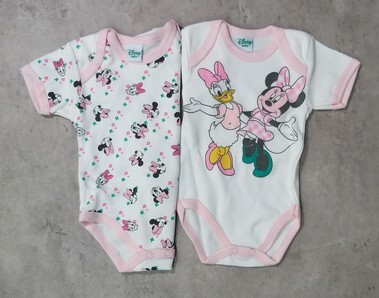 Body neonato mezza manica in caldo cotone garzato set 2 pz. DISNEY 2006 Minnie