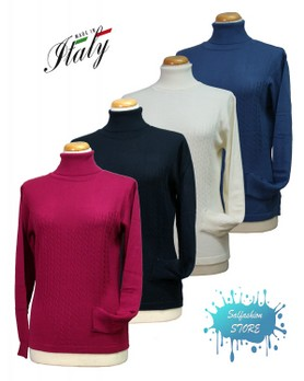 Maglia donna collo alto 50% lana merinos made in Italy DONNA FASHION RO/100