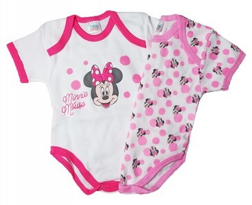 Body neonato mezza manica in caldo cotone garzato set 2 pz. DISNEY 8009 Minnie