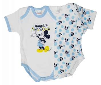 Body neonato mezza manica in caldo cotone garzato set 2 pz. DISNEY 8013 Mickey