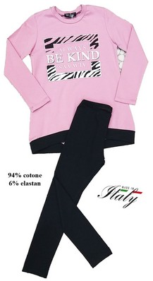 Completo bimba maxipool in caldo cotone + leggins made in Italy ENJOY 7446