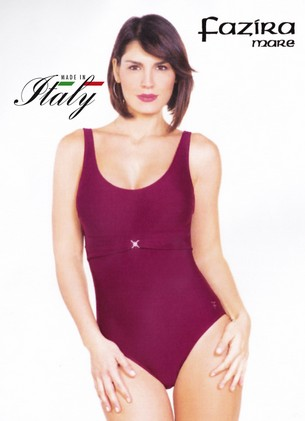 Costume intero donna mare piscina con coppe made in Italy FAZIRA MARE art: 138b bordò