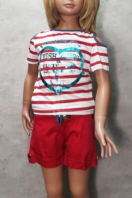 Completo bimba estate t-shirt + bermuda made in Italy FREE GIRL 129