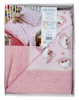 Completo coppia lenzuola neonato culla/lettino 125 x 180 in flanella ANGEL'S Honey rosa