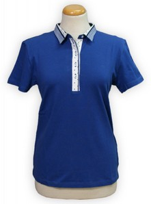 Maglia donna mezza manica a polo vestibilità comoda made in Italy JEWELS 221 avion