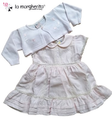 Completo neonata vestina in lino + scaldacuore in filo made in Italy LA MARGHERITA 24709