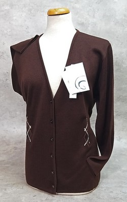 Maglia donna cardigan aperta invernale in lana ricamata made in Italy LADY LIKE-117