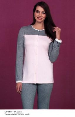shopping vendita professionale stili diversi Pigiama donna cotone leggero lungo tutto aperto LINCLALOR 02973