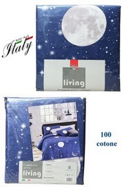 Completo lenzuola matrimoniale 100% cotone stampato made in Italy LIVING mod. Luna