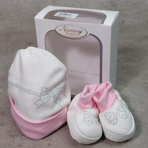 Cappellino + scarpina in cotone con strass made in Italy taglia unica NANCY BABY 1691/1 panna/rosa