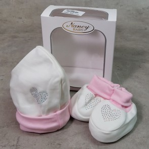 Cappellino + scarpina in cotone con strass made in Italy taglia unica NANCY BABY 1691/3 panna/rosa