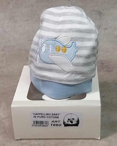 Cappellino neonato 100% in cotone ricamato made in Italy tg. unica NANCY BABY 1660 cielo