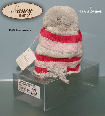 Cappellino bimba 100% lana merinos made in Italy NANCY BABY 1614