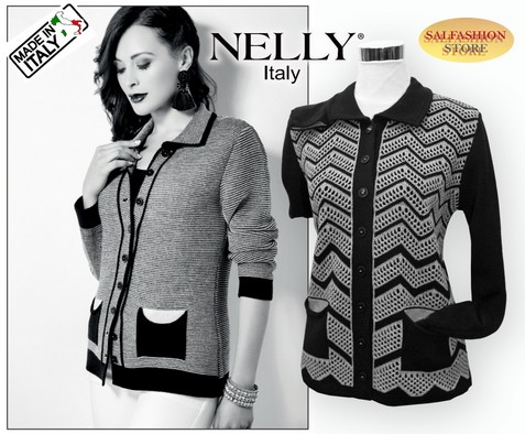MAGLIA DONNA INVERNALE CARDIGAN APERTA MADE IN ITALY NELLY 2586