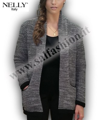 MAGLIA DONNA INVERNALE CARDIGAN APERTA MADE IN ITALY Nelly P-5767
