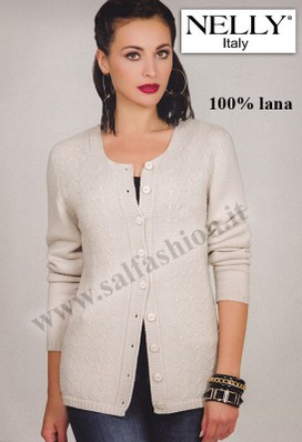 MAGLIA DONNA INVERNALE CARDIGAN APERTA MADE IN ITALY Nelly P-7064