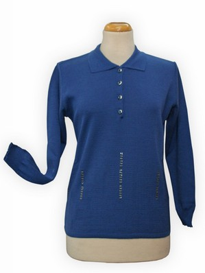 MAGLIA DONNA IN FILO PRIMAVERILE CLASSICA POLO MADE IN ITALI NEW LINEAELLE 18123