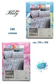 Completo lenzuola singolo 100% cotone stampato made in Italy LIVING mod. Nuvola