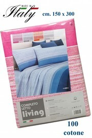 Completo lenzuola singolo 100% cotone stampato made in Italy LIVING mod. Sabbia-rosa