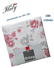 Completo lenzuola matrimoniale 100% cotone stampato made in Italy LIVING mod. Victoria