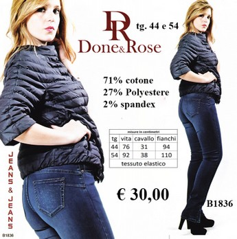 JEANS DONNA TAGLIE FORTI Done & Rose B1836